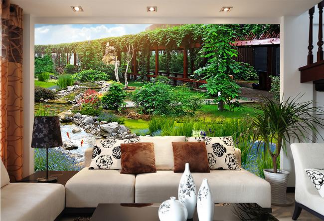 园林公园3D风景背景墙背景画三