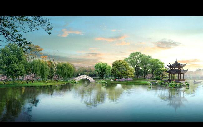 滨水仿古公园景观桥景观效果图