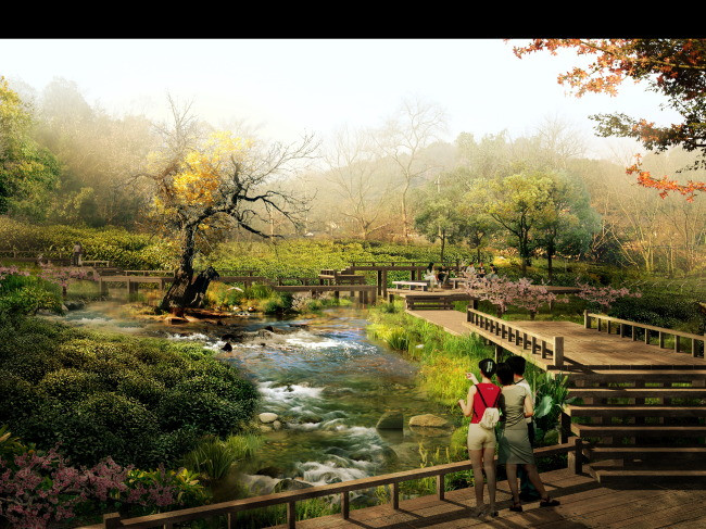 湿地公园栈桥分层效果图