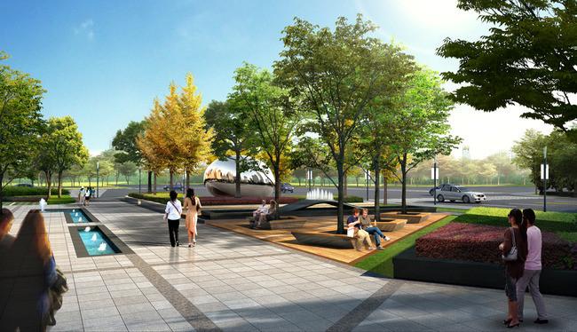 小区休闲广场景观绿化设计效果图