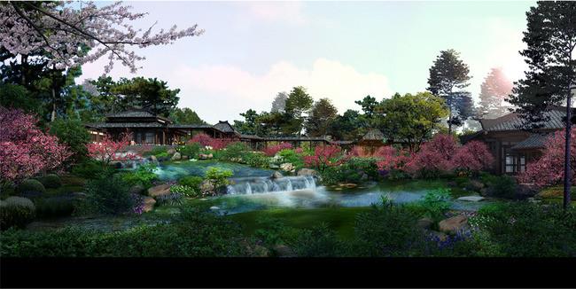 景区跌水仿古园林景观设计效果图