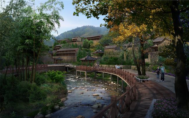 景区滨水木栈道园林景观设计效果图