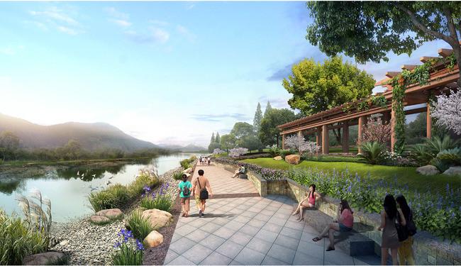 景区滨水廊架景观设计效果图