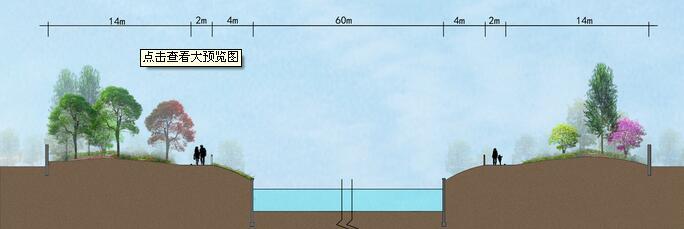 河道景观剖面图图片