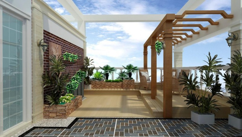 楼顶私家花园效果图源景园林-源景建材屋顶花园源景