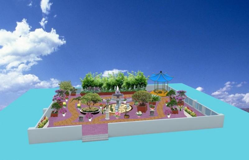 天台楼顶小花园绿化效果图