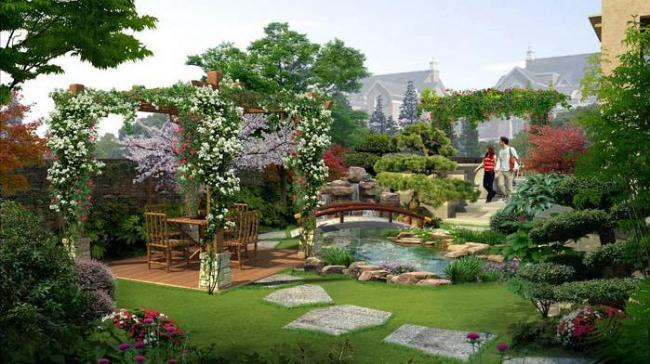 高档公园花园效果图图片