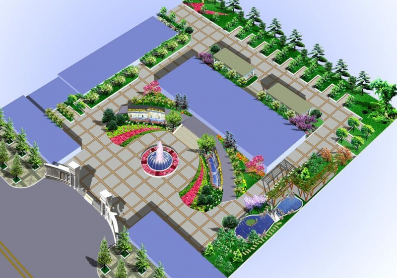 办公楼绿化效果图